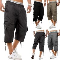 MENS ELASTICATED WAIST COTTON CARGO COMBAT 3/4 LONG LENGTH SHORTS KING BIG SIZE