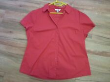 RED, COTTON/NYLON BUTTON UP BLOUSE BY AVELLA SIZE 20/22