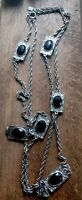 "Vintage Baroque Style Emmons Silver Tone Faux Black Onyx  Bead Long 42"" Necklace"
