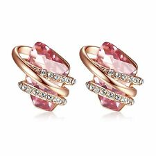 "Leafael ""Wish Stone"" Swarovski Crystal 18K Rose Gold Plated Light Pink Earrings"