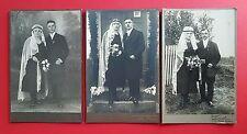 3 x altes CdV Foto um 1910 Hochzeit Brautpaare   ( F16676