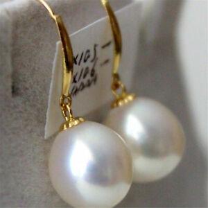 10-12mm white round pearl dangle earring 14k hook Cultured Luxury Aurora Classic