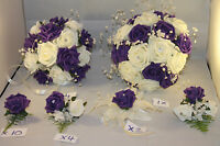 WEDDING  BOUQUET  FLOWER PACKAGE PURPLE & WHITE ** 22 PIECES £185**