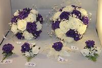 WEDDING  BOUQUETS BUTTONHOLES CORSAGE PACKAGE PURPLE & IVORY ** 10 PIECES £95**