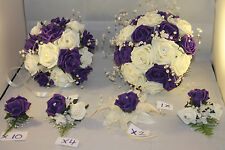 WEDDING  BOUQUETS BUTTONHOLES CORSAGE PACKAGE PURPLE & IVORY ** 22 PIECES £165**