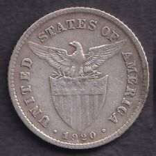 1920 US Philippine 20 Centavos United States of America Silver Coin Stock #1