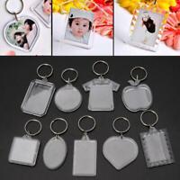 Unisex Acrylic Transparent Photo Frame Keychain Women Key Ring