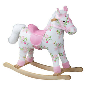 Bigjigs Toys Plush Wooden Floral Rocking Horse Traditional Bedroom Nursery