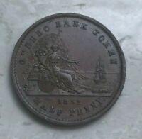 1852 Quebec 1/2 Half Penny Token - Un Sou - Nice AU