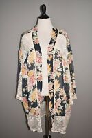 LAURIE FELT NEW $66 Floral Lace Kimono in Indigo Floral 1X