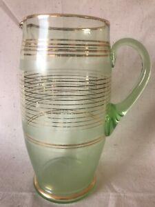 Vintage Large Green Art Glass Gold Flashed Drink Jug Eames Pitcher