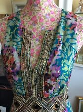 "Monsoon Classy Lily Green Geisha Length 56"" Silk Dress Size 12 Ic Hols"
