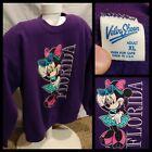 Vintage Velva Sheen Purple Disney Minnie Mouse Long Sleeve Sweatshirt XL VGUC!