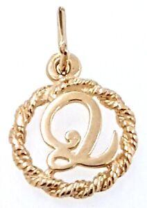 "9k ""Q"" initial Charm/Pendant_375 yellow gold"