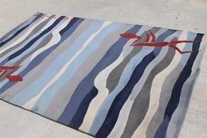 RSG17692 Beautiful Bold Stripe Blue Tibetan Woolen Rug 5' x 8' Handmade in Nepal