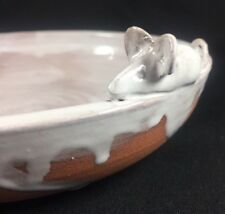 Handmade Studio Pottery Art Mice Mouse Figurine Glazed White Drip Soup Bowl B