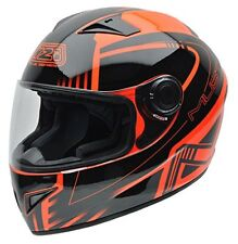 Casco moto integral Nzi X logo negro naranja Fluor L
