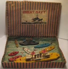 Old Patriotic Boxed Set Great Navy Wooden Putz Ship & Military Boats - Japan