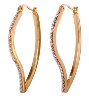 "Swarovski Elements Crystal 1 3/4"" Leaf Hoop Earrings Gold Plated Authentic 7248w"