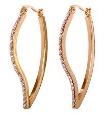 Swarovski Elements Crystal Leaf Hoop Pierced Earrings Gold Authentic New 7248c