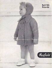 Rare Vintage Knitting Pattern Babies & Toddlers Coat & Hat In Moss Stitch 22-26