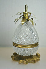 "ANTIQUE CUT CRYSTAL ""PINEAPPLE"" DESIGN BRASS HINGED TRINKET JAR (MADE IN FRANCE)"
