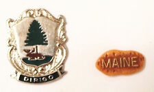 "STATE OF MAINE SOUVENIR PINS ""MAINE"" Plastic Lapel Pin STATE SEAL Silver Tone"