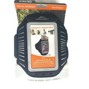 "Armpocket Racer The Ultimate Armband For Phones Up To 5.5""  Black/Silver NEW"