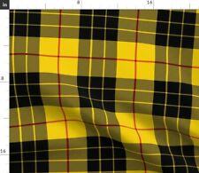 Yellow And Black Plaid School Uniform Tartan Fabric Printed by Spoonflower BTY