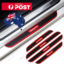 Black Rubber Carbon Car Door Scuff Sill Cover Plate Panel Step Protector Sticker