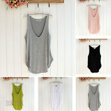 Fashion Womans Lady Summer T-shirt Sleeveless V-Neck Candy Vest Loose Tank Tops