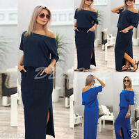 Boho Women Short Sleeve Maxi Dresses Evening Cocktail Party Summer Beach Dress