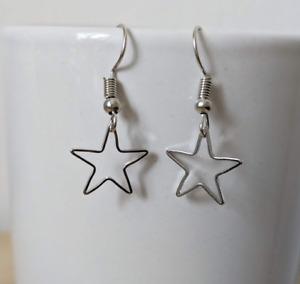 Star Earrings silver gold drop earrings Silver christmas party FREE GIFT WRAP
