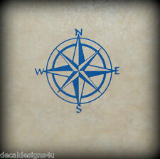 """6"""" Compass Rose decal sticker for Boat Wall Glass block shadow box"""