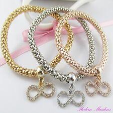 3pce Three Tone Rhinestone Infinity Charm Stretch Popcorn Chain Bracelet Set