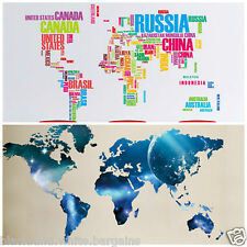 Large World Map Country Name Wall Decal Sticker DIY Home Living Nursery Decor