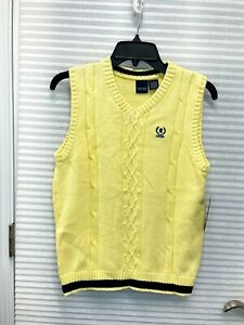 IZOD Boys Cotton Cable Knit V-Neck Sweater Vest Yellow Size M (10/12) - NEW