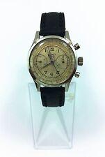 Antique Elrex Chronograph 17 Jewels Original Case Leather Strap Men Watch