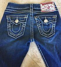 TRUE RELIGION LTD Ed Dk Blue Stitched Straight Leg Jeans Woman's 26 NWOT USA🇺🇸