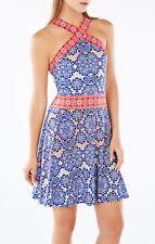 NWT BCBG MaxAzria Nadia Print dress, Blue, Red & White Multi color  M