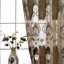 European Deluxe Curtains Hollowed Flannel Cloth Clear Sheer Living Room 1 Piece