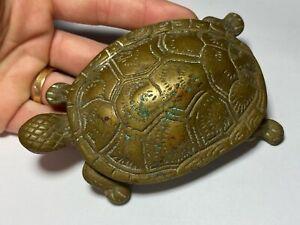 VTG Brass Turtle Hinged Secret Miniature Stash Trinket Box