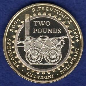 Great Britain, 2004 Proof £2 Coin, 2 Pound, Trevithick, Steam Loco (Ref. t4183)