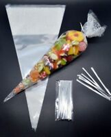 """100 - WHITE Cone Cellophane Sweet / Party Bags With 4"""" Silver Twist Ties"""