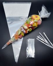 """1000 - WHITE Cone Cellophane Sweet / Party Bags With 4"""" Silver Twist Ties"""
