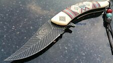 "8.25"" IVORY FEATHER SPRING ASSISTED FOLDING KNIFE Blade pocket open switch"
