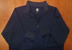 FootJoy Performance Woven Stretch 1/4 Zip Pullover Ls Shirt Golf Navy XL ~NEW~