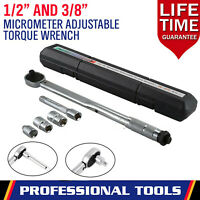 "Ratcheting Torque Wrench 1/2"" 3/8"" Square Socket Drive Extension Adjust 28-210Nm"