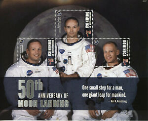 Dominica Space Stamps 2020 MNH Apollo 11 Moon Landing Neil Armstrong 3v M/S