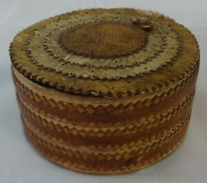 Unusual Antique Chip Carved Layered Bark Bentwood Box Bark Covered Heart & Hands